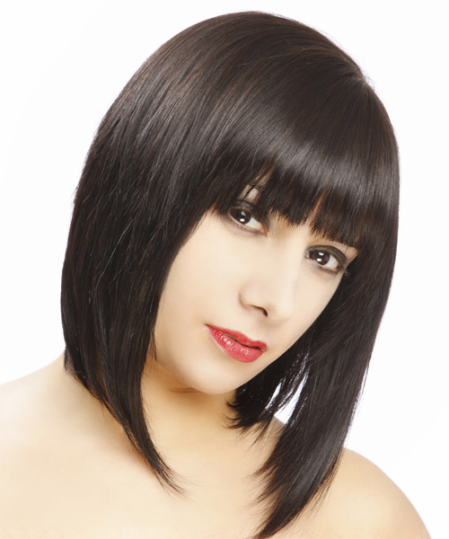 Medium Straight Formal Hairstyle - Dark Brunette - side view 2