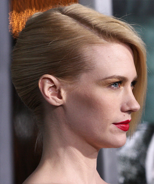 January Jones Formal Straight Updo Hairstyle - Light Blonde - side view 2