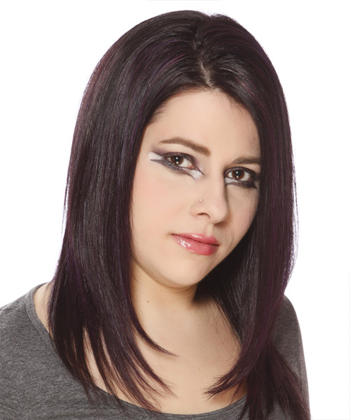 Long Straight Casual Hairstyle - Dark Brunette (Plum) Hair Color - side on view