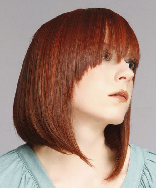Medium Straight Formal Hairstyle with Asymmetrical Bangs (Ginger) - side on view