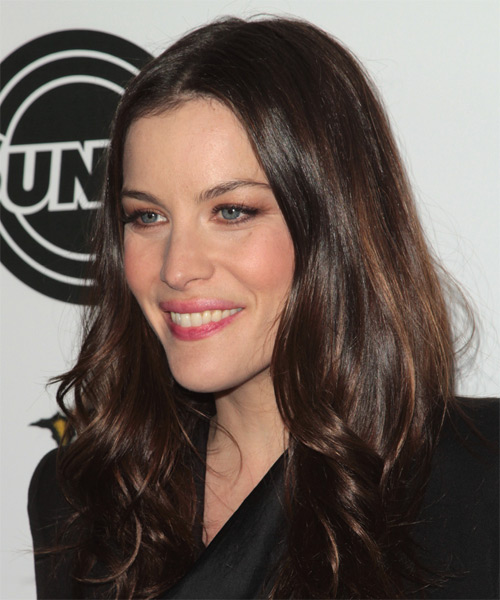 Liv Tyler Long Wavy Formal Hairstyle - Dark Brunette (Mocha) Hair Color - side on view