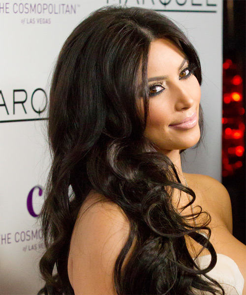 Kim Kardashian Long Wavy Formal Hairstyle - Dark Brunette Hair Color - side on view