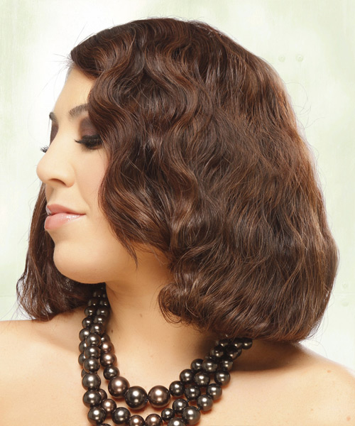 Medium Wavy Formal Bob Hairstyle - Medium Brunette (Mahogany) Hair Color - side on view