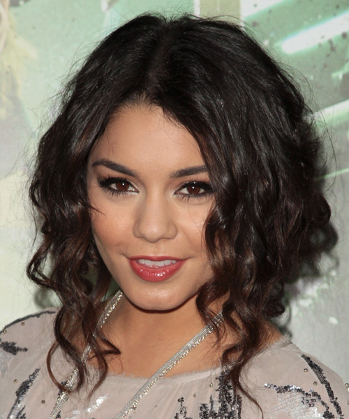 Vanessa Hudgens Medium Curly Casual Hairstyle - Dark Brunette Hair Color - side on view