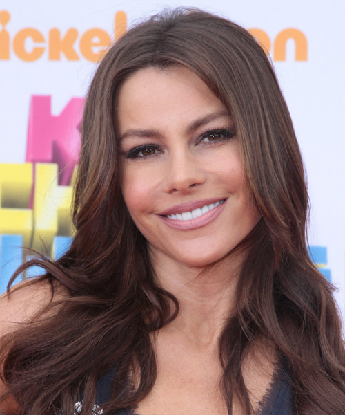 Sofia Vergara Long Wavy Hairstyle - Medium Brunette (Chocolate) - side view 2