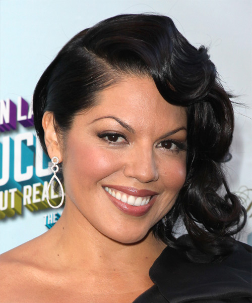 Sara Ramirez Medium Wavy Formal Hairstyle with Side Swept Bangs - Black Hair Color - side on view