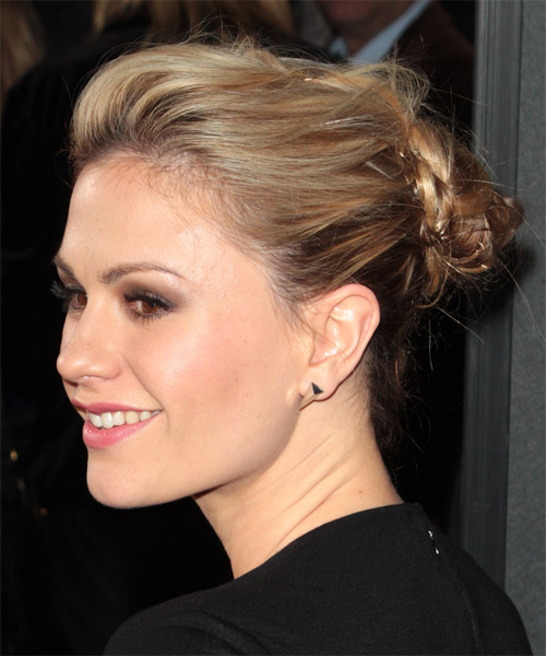 Anna Paquin Straight Casual Updo Hairstyle - Dark Blonde Hair Color - side on view