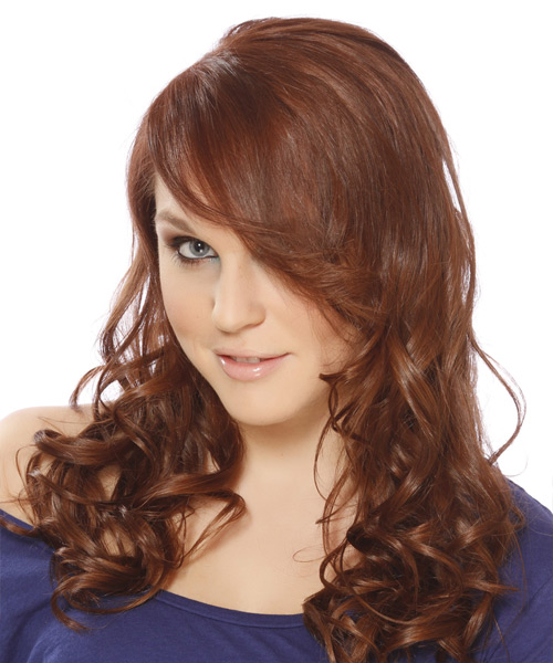 Long Wavy Casual Hairstyle with Side Swept Bangs - Light Brunette (Auburn) Hair Color - side on view