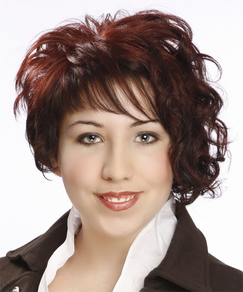 Short Curly Formal Asymmetrical Hairstyle with Asymmetrical Bangs - Dark Red Hair Color - side on view