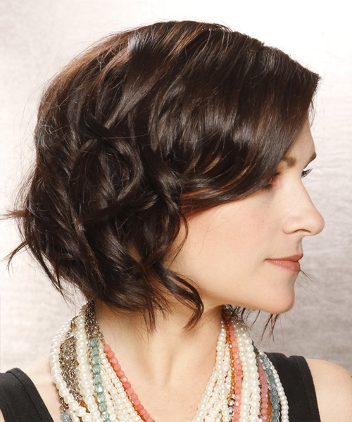 Short Wavy Casual Bob Hairstyle - Dark Brunette (Chocolate) - side view 2