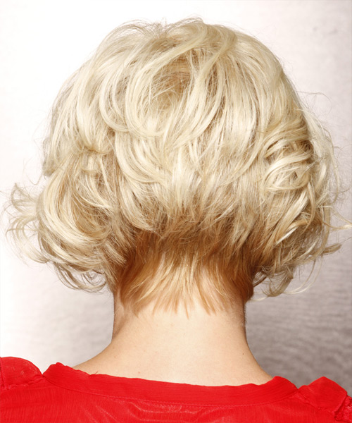 Short Wavy Formal Bob Hairstyle with Side Swept Bangs - Light Blonde (Platinum) Hair Color - side on view