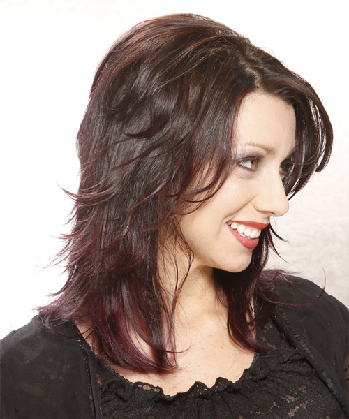 Medium Straight Casual Hairstyle - Dark Brunette - side view 2