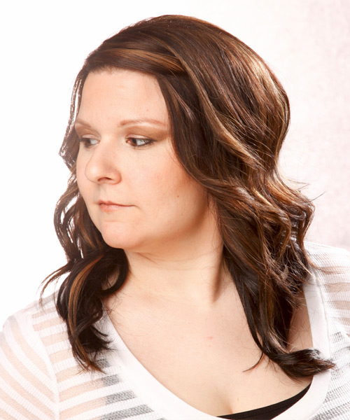 Long Wavy Casual Hairstyle - Medium Brunette Hair Color - side on view