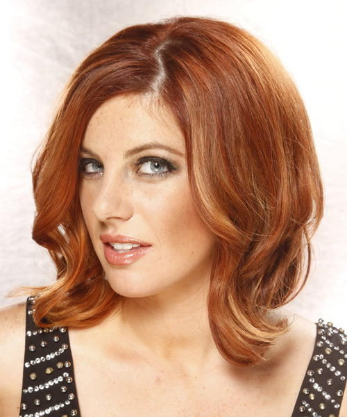 Medium Wavy Formal Hairstyle - Medium Red (Copper) - side view 2