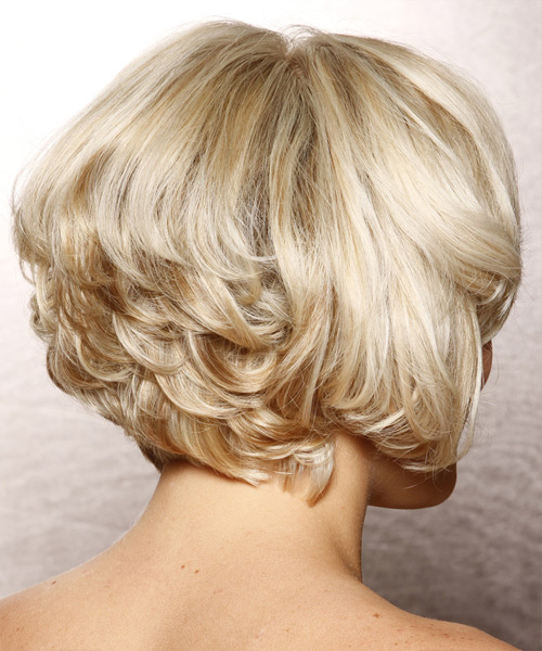 Short Wavy Formal Hairstyle with Side Swept Bangs - Light Blonde (Platinum) Hair Color - side on view