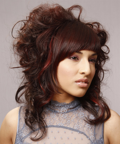 Curly Formal Updo Emo Hairstyle with Blunt Cut Bangs - Dark Brunette (Auburn) Hair Color - side on view