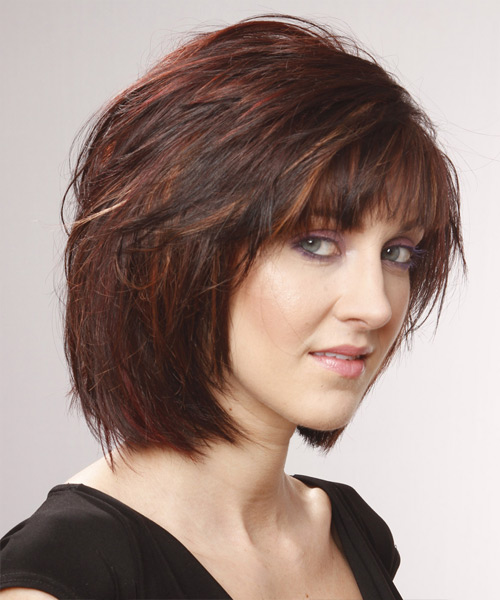Medium Straight Casual Hairstyle - Medium Red (Mahogany) - side view 2