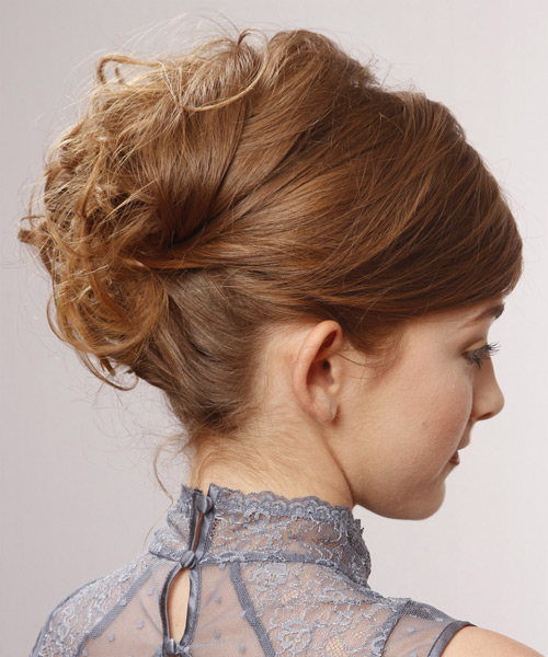 Formal Curly Updo Hairstyle - Light Brunette (Chestnut) - side view