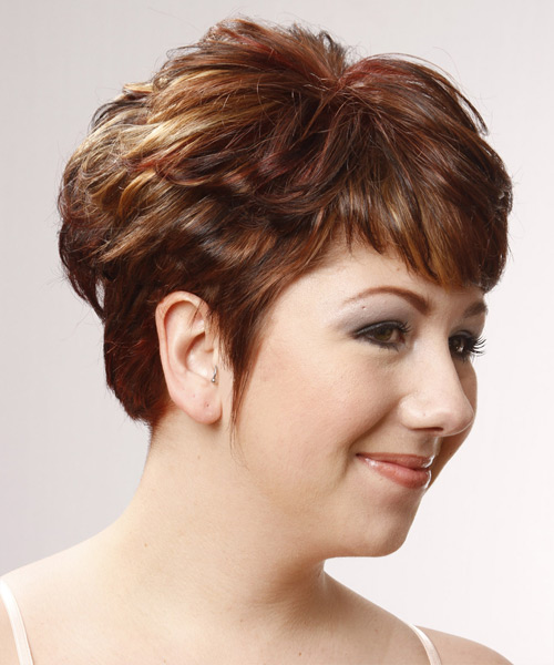Short Straight Formal Hairstyle - Medium Red - side view 2