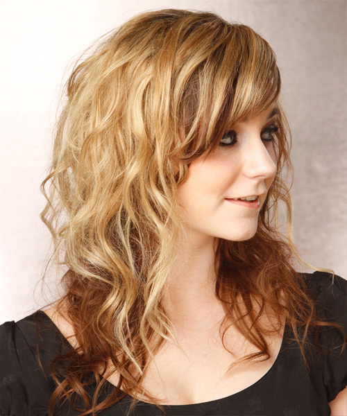 Long Wavy Casual  - Light Brunette (Caramel) - side on view