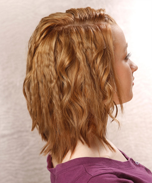 Medium Wavy Casual Braided Hairstyle - Dark Blonde (Golden) Hair Color - side on view