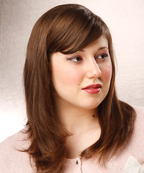 Long Straight Formal Hairstyle with Side Swept Bangs - Medium Brunette (Chestnut) Hair Color - side on view
