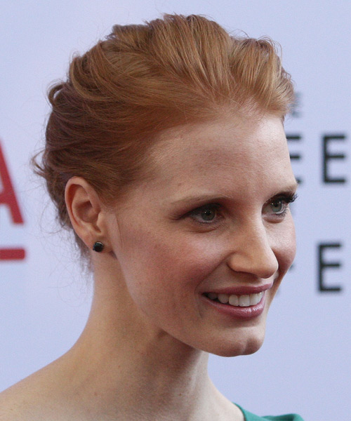 Jessica Chastain Formal Straight Updo Hairstyle - Medium Blonde (Strawberry) - side view 2
