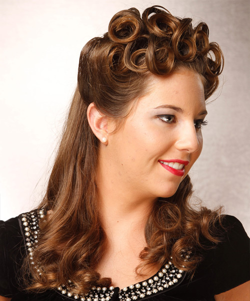 Curly Formal Half Up Hairstyle - Medium Brunette (Chestnut) Hair Color - side on view