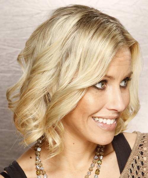 Medium Wavy Formal Hairstyle - Light Blonde Hair Color - side on view