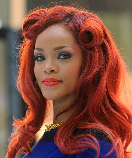 Rihanna Curly Formal Half Up Hairstyle - Medium Red (Bright) Hair Color - side on view