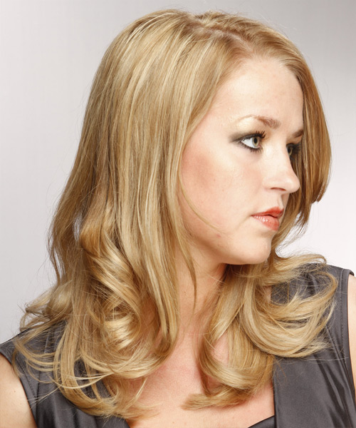 Long Straight Formal Hairstyle - Medium Blonde (Champagne) Hair Color - side on view