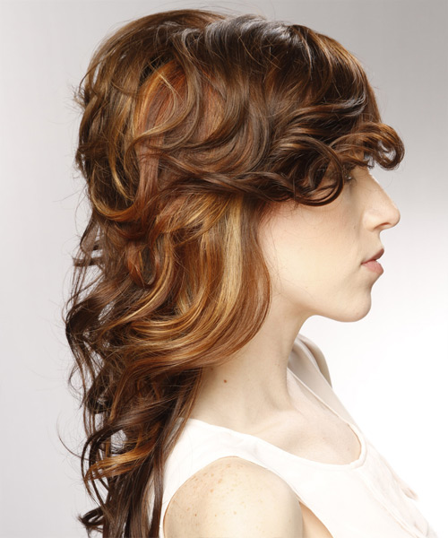 Long Curly Formal  with Side Swept Bangs - Light Brunette (Chestnut) - side on view
