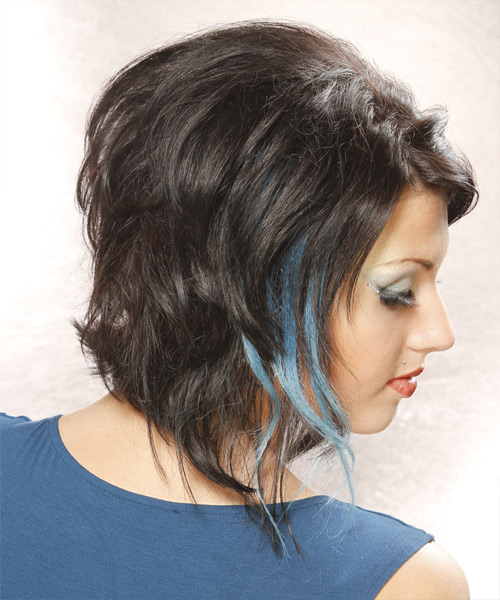 Medium Wavy Casual Hairstyle - Blue - side view