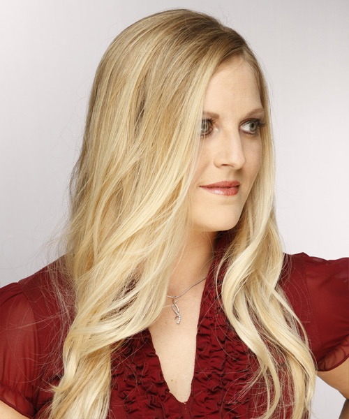 Long Wavy Formal Hairstyle - Medium Blonde (Champagne) Hair Color - side view