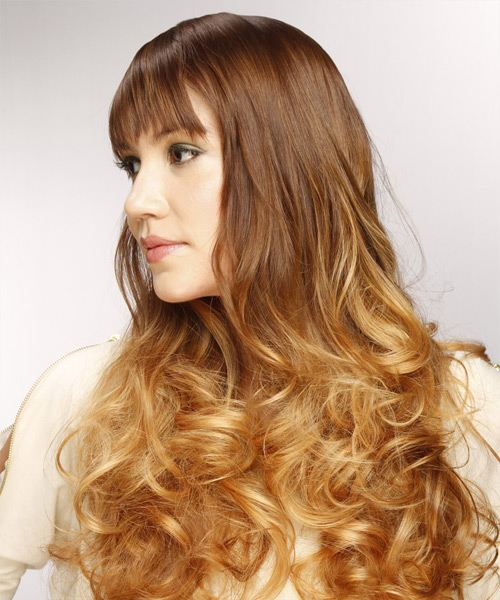 Long Curly Formal  with Layered Bangs - Light Brunette - side on view