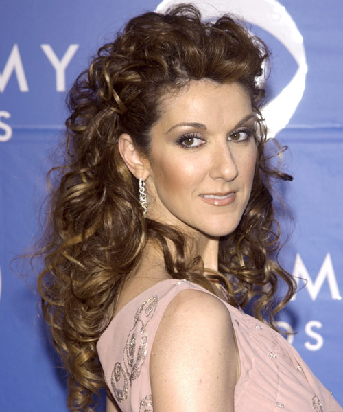 Celine Dion Curly Formal Half Up Hairstyle - side on view