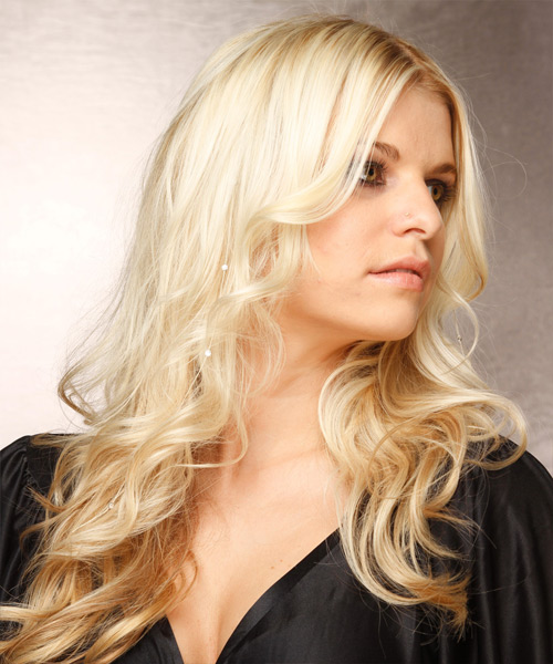 Long Wavy Formal Hairstyle - Light Blonde - side view