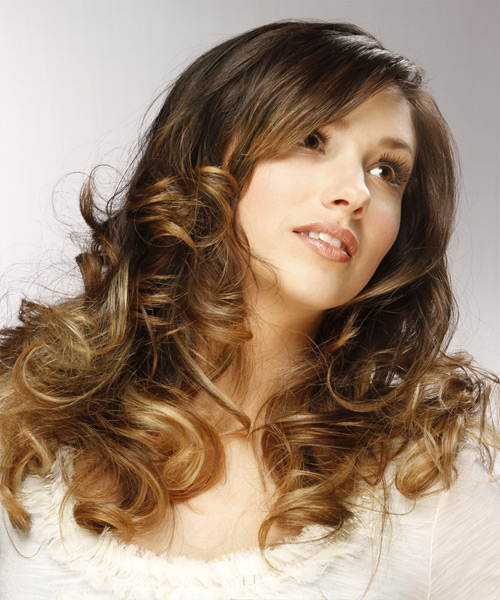 Long Curly Formal  - Medium Brunette - side on view