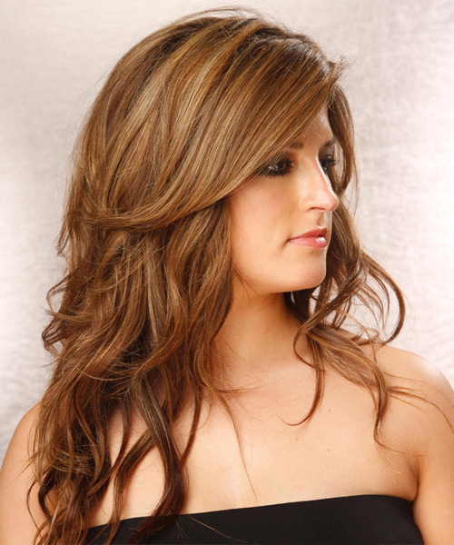 Long Straight Casual  - Medium Brunette (Chestnut) - side on view