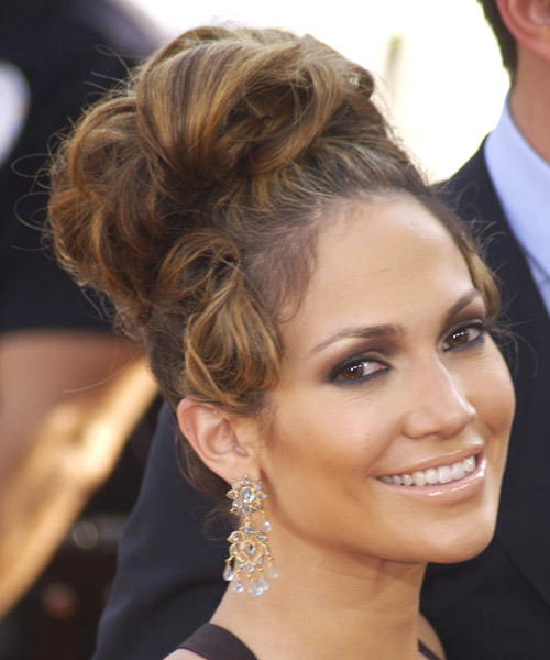 Jennifer Lopez Curly Formal Updo Hairstyle - side on view