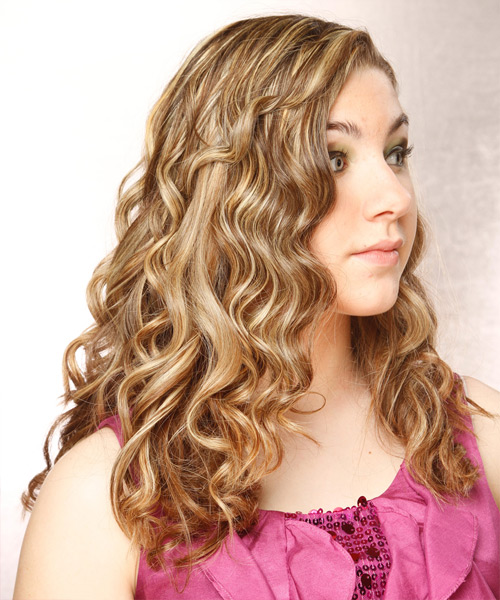 Long Curly Casual Hairstyle - Dark Blonde Hair Color - side on view