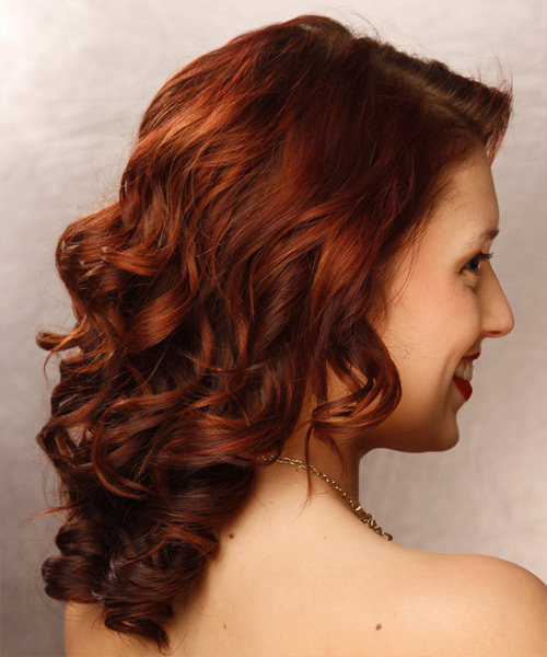 Long Curly Formal Hairstyle - Dark Red - side view 2