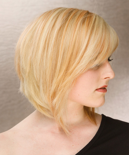 Medium Straight Formal Hairstyle with Side Swept Bangs - Light Blonde (Honey) Hair Color - side on view