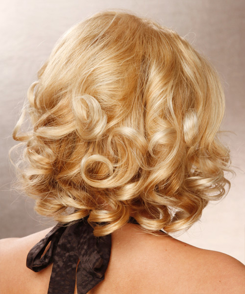 Medium Wavy Formal Bob Hairstyle - Light Blonde (Golden) - side view 2