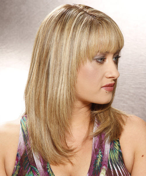 Long Straight Casual Hairstyle with Blunt Cut Bangs - Medium Blonde (Golden) Hair Color - side on view