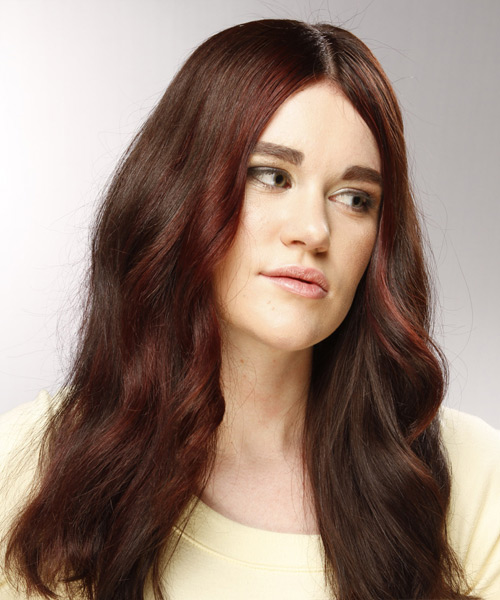Long Wavy Casual Hairstyle - Dark Brunette (Burgundy) - side view 2