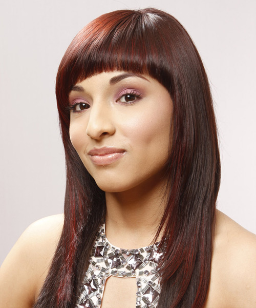 Long Straight Alternative Hairstyle with Blunt Cut Bangs - Medium Red Hair Color - side on view