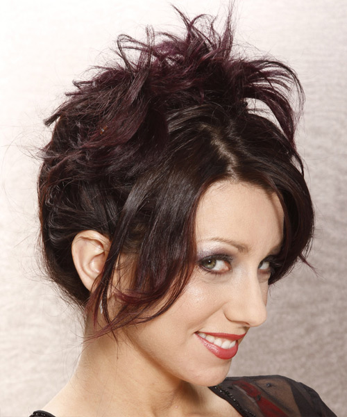 Casual Straight Updo Hairstyle - Dark Brunette (Plum) - side view 2