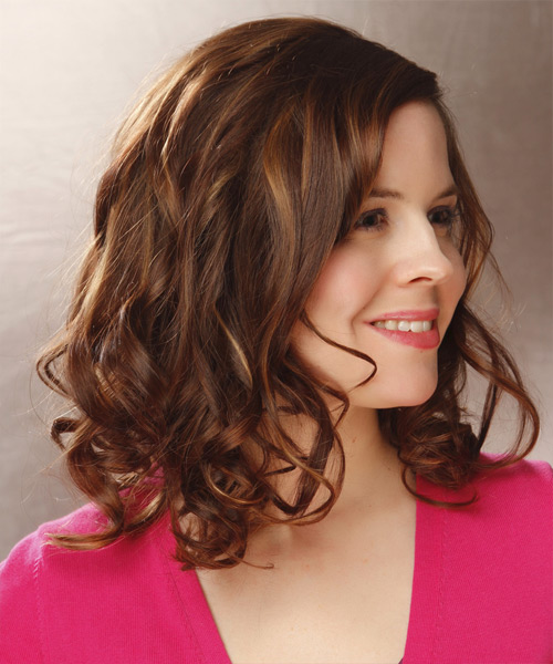 Medium Wavy Casual Hairstyle - Medium Brunette (Auburn) Hair Color - side on view
