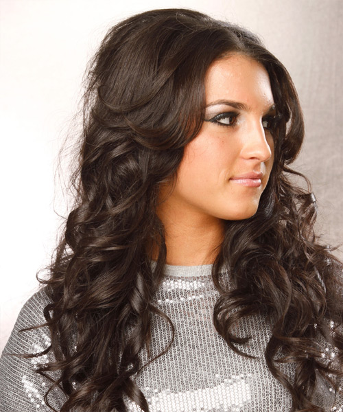 Long Wavy Formal Hairstyle - Dark Brunette (Caramel) - side view